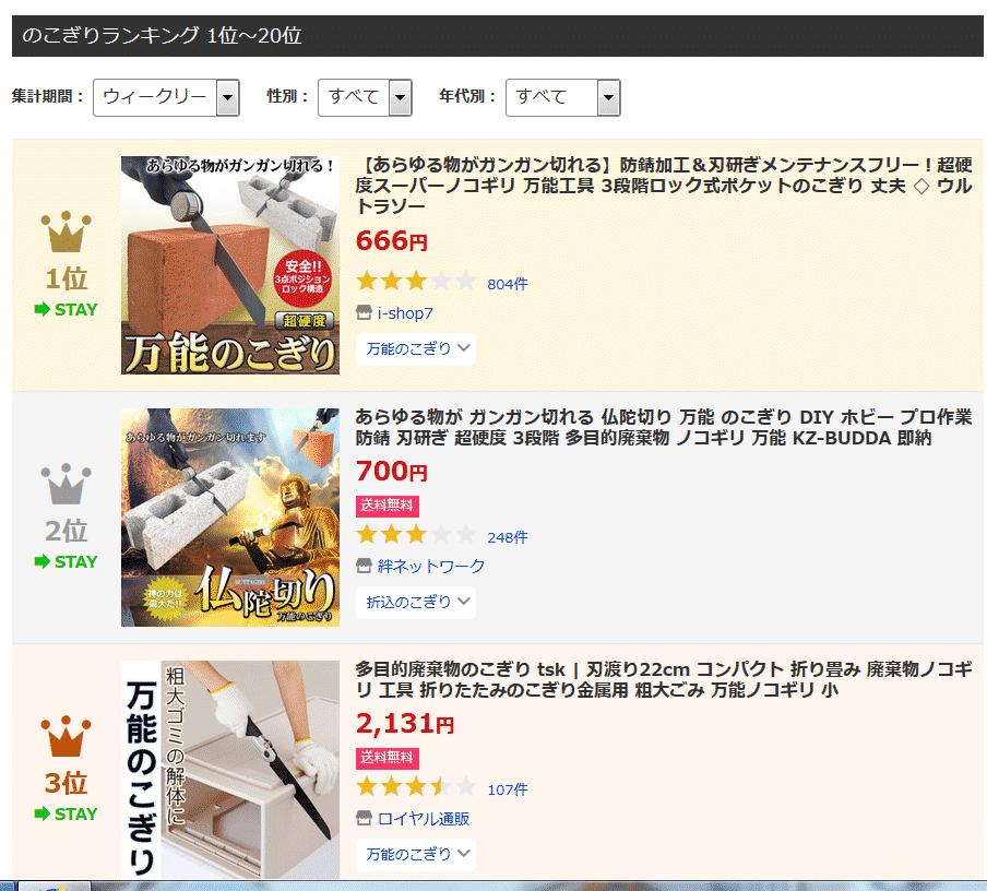 おすすめ Yahoo!ショッピング ノコギリ 人気ランキング
