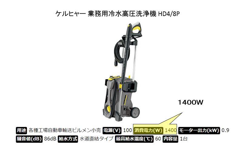 高圧洗浄機 消費電力量