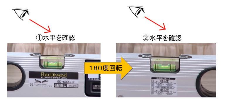 気泡管水平器、水準器の調整方法